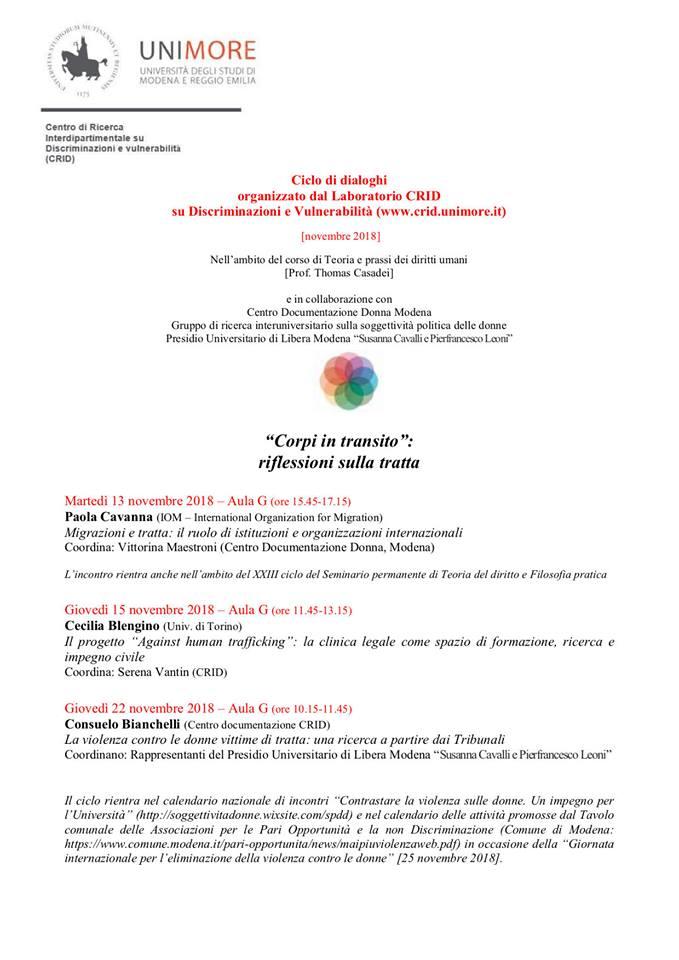 Calendario Unimore.Corpi In Transito Riflessioni Sulla Tratta Centro
